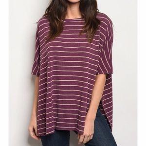 Burgundy Distressed Edge Striped Shirt